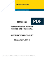 MATH1151 Course Outline
