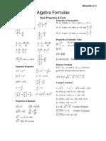 Algebra Formulae