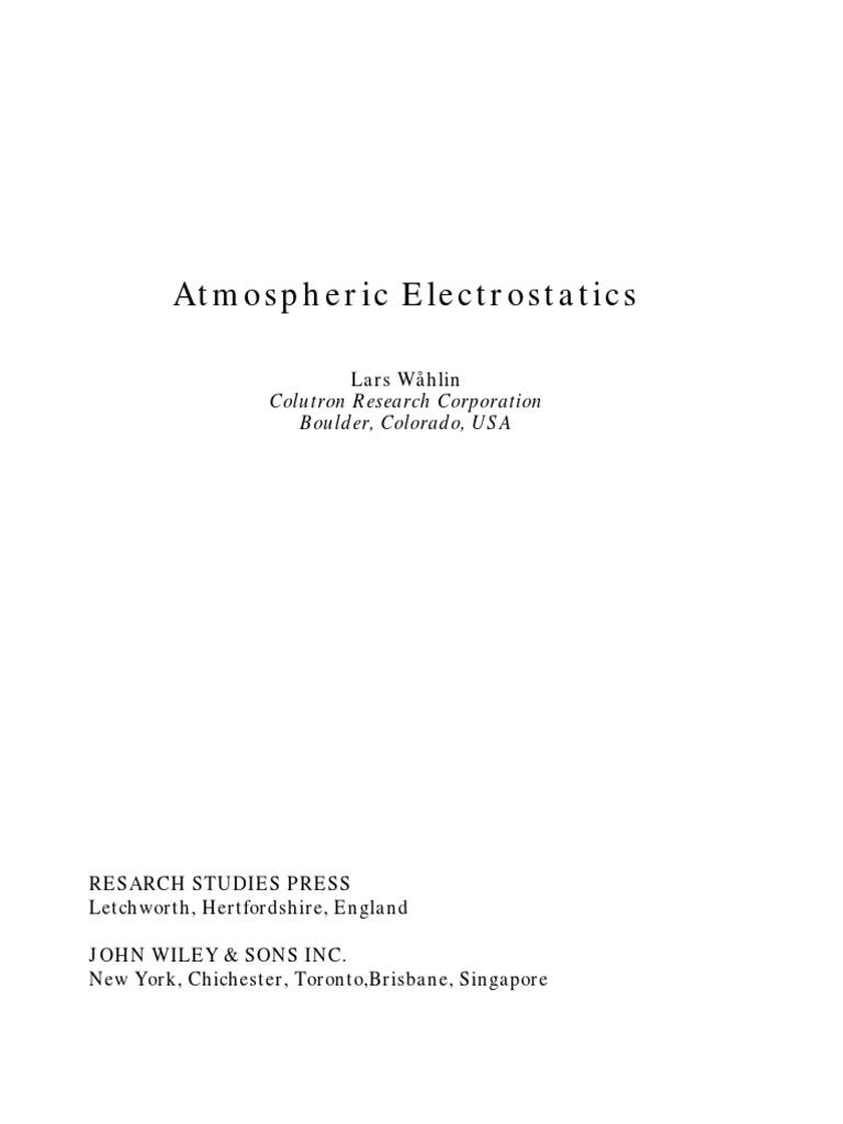 Atmospheric Electrostatics