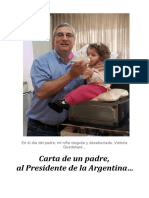 Carta de un padre al Presidente de la Argentina...