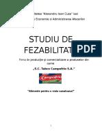 Studiu de Fezabilitate - Firma de Productie Si Comercializare a Produselor Din Carne SC Tabco Campofrio SA
