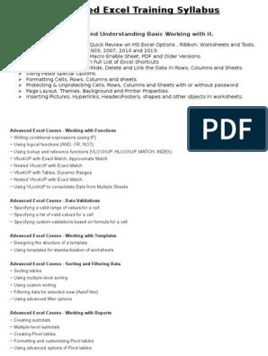 Excel Training Syllabus | Microsoft Excel | Datos informáticos