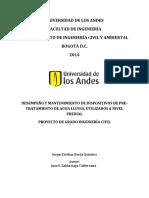 Desempeño y Mantenimiento de Dispositivos de Pre-tratamiento de Agua Lluvia, Utilizados a Nivel Predial