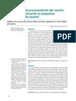 Aditivos Para El Procesamiento Del Caucho Natural y Su Aplicación en Pequeñas Plantaciones de Caucho