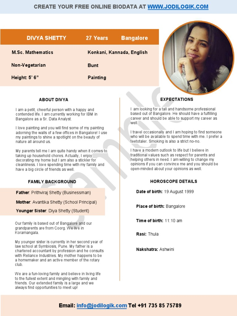 Biodata for matrimony of a working girl from a