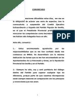 Comunicado Oficial de Virginia Pérez. 15 de Julio de 2016