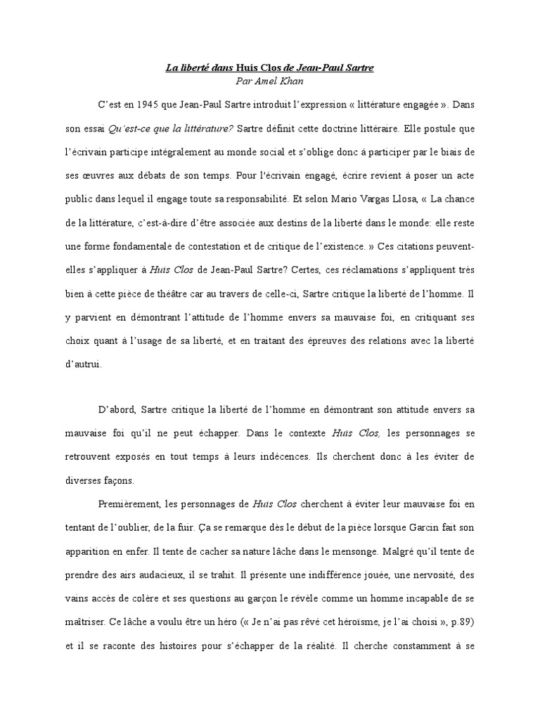 Dissertation explicative huis clos