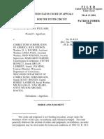 Williams v. Correction Corp Amer, 10th Cir. (2002)