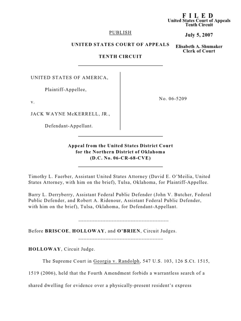 oklahoma criminal court of appeals forcible entry warrantless search
