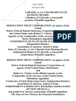 State of Colorado, Ex Rel. Colorado State Banking Board Independent Bankers of Colorado, a Non-Profit Corporation v. Resolution Trust Corporation, an Agency of the United States Federal Deposit Insurance Corporation, an Agency of the United States and Robert L. Clarke, in His Official Capacity as the Comptroller of the Currency of the United States, Conference of State Bank Supervisors Independent Bankers Association of America, Amicus Curiae. State of Colorado, Ex Rel. Colorado State Banking Board Independent Bankers of Colorado, a Non-Profit Corporation v. Resolution Trust Corporation, an Agency of the United States Federal Deposit Insurance Corporation, an Agency of the United States, and Robert L. Clarke, in His Official Capacity as the Comptroller of the Currency of the United States, Conference of State Bank Supervisors Independent Bankers Association of America, Amicus Curiae. Independent Community Bankers Association of New Mexico, a Non-Profit New Mexico Corporation the State