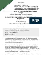 Saleem Abu Irmayshan v. Immigration & Naturalization Service, 936 F.2d 583, 10th Cir. (1991)