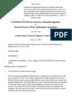 United States v. David Wayne Cole, 968 F.2d 21, 10th Cir. (1992)