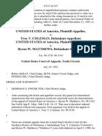 United States v. Troy T. Coleman, United States of America v. Byron W. Matthews, 972 F.2d 357, 10th Cir. (1992)