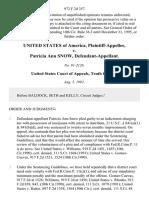 United States v. Patricia Ann Snow, 972 F.2d 357, 10th Cir. (1992)