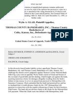 Wylie A. Glad v. Thomas County Bankshares, Inc. Thomas County Bankshares of Colby, Kansas, Inc., 978 F.2d 1267, 10th Cir. (1992)