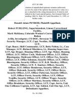 Donald Adam Penrod v. Robert Furlong, Superintendent, Limon Correctional Facility, Mark McKinna Colorado Women's Correctional Facility, Ruben Avilla, Investigator, Co Doc, Dewayne Tornowski, Maj., Security Manager, Lcf, Capt. Nordine, Shift Commander, Lcf, Capt. Bauer, Shift Commander, Lcf, Betty Fulton, Lt., Case Manager, Lcf, Richard Mischiera, Lt., Housing Supervisor, Lcf, Sgt. Draper, Housing Officer, Lcf, Sgt. Maher, Housing Officer, Lcf, Officer Cook, Mailroom Officer, Lcf, Officer Blassingame, Mailroom Officer, Lcf, Officer Fox, Security Officer, Lcf, Office Soloman, Security Officer, Lcf, Officer Blassingame, Security Officer, Lcf, K.B. MacKey Officer, Security Officer, Lcf, T. Smelser, Officer, Security Officer, Lcf, Officer Henderson, Security Officer, Lcf, Officer Holcomb, Security Officer, Lcf, Officer Berez, Security Officer, Lcf, Officer Patterson, Security Officer, Lcf, Officer Ferris, Security Officer, Lcf, Officer Trujillo, Security Officer, Lcf, Officer Wager, Securit