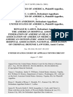 United States v. Robert C. Lahue, United States of America v. Dan Anderson, United States of America v. Ronald H. Lahue, the American Hospital Association Federation of American Health Systems Association of American Medical Colleges American Osteopathic Association Missouri Hospital Association National Association of Criminal Defense Lawyers, Amici Curiae, 261 F.3d 993, 10th Cir. (2001)