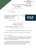 Kennington v. U.S. Department of Treasury, 10th Cir. (2012)