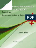 Rapport du Comité consultatif en matière d'affaires francophones