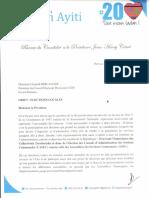Lettre à Léopolpd Berlanger 1er Juillet 2016