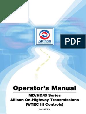 Transmission, Allison Automatic OM2995EN | Manual
