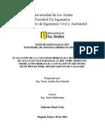 Evaluación de La Capacidad Hidráulica Del Interceptor de Aguas Lluvias Paralelo Al Río Pore, Mediante Modelación Hidráulica Con El Software SWMM, Municipio de Pore, Departamento