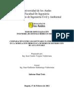Comparación Entre Los Softwares Watergems y Redes, En La Modelación Hidráulica de Redes de Distribución de Agua Potable