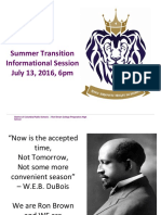 Summer Transition Informational Session 2016