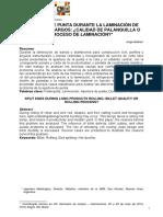 Apertura de Punta Durante La Laminación de Productos Largos - Calidad de Palanquilla o Proceso de Laminación