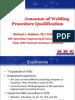 Sense & Nonsense of Welding Procedure Qualification