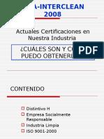 Certificaciones en la  Industria