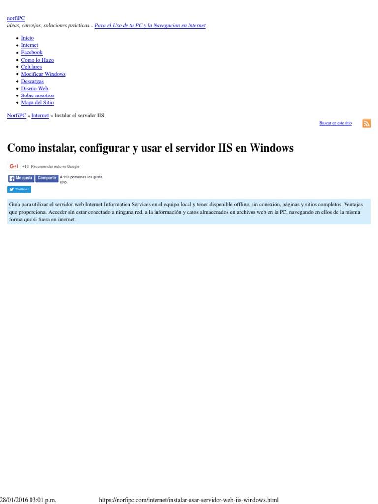 Como instalar, configurar y usar el servidor web IIS en Windows.pdf