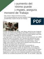 Segundo Aumento Del Salario Mínimo Puede Afectar a Mypes