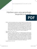 Hipotese para uma genealogia biopolitica do gosto