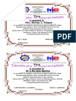Certificates for the Parent
