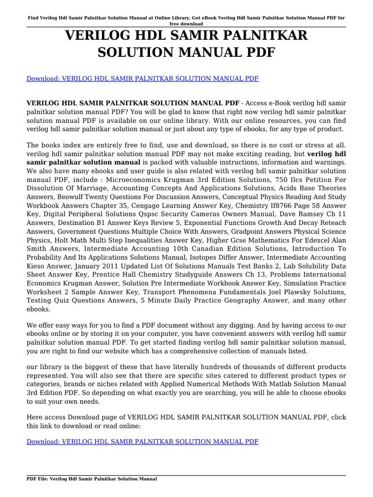 Verilog Hdl Samir Palnitkar Solution Manual | Portable Document Format |  Hardware Description Language