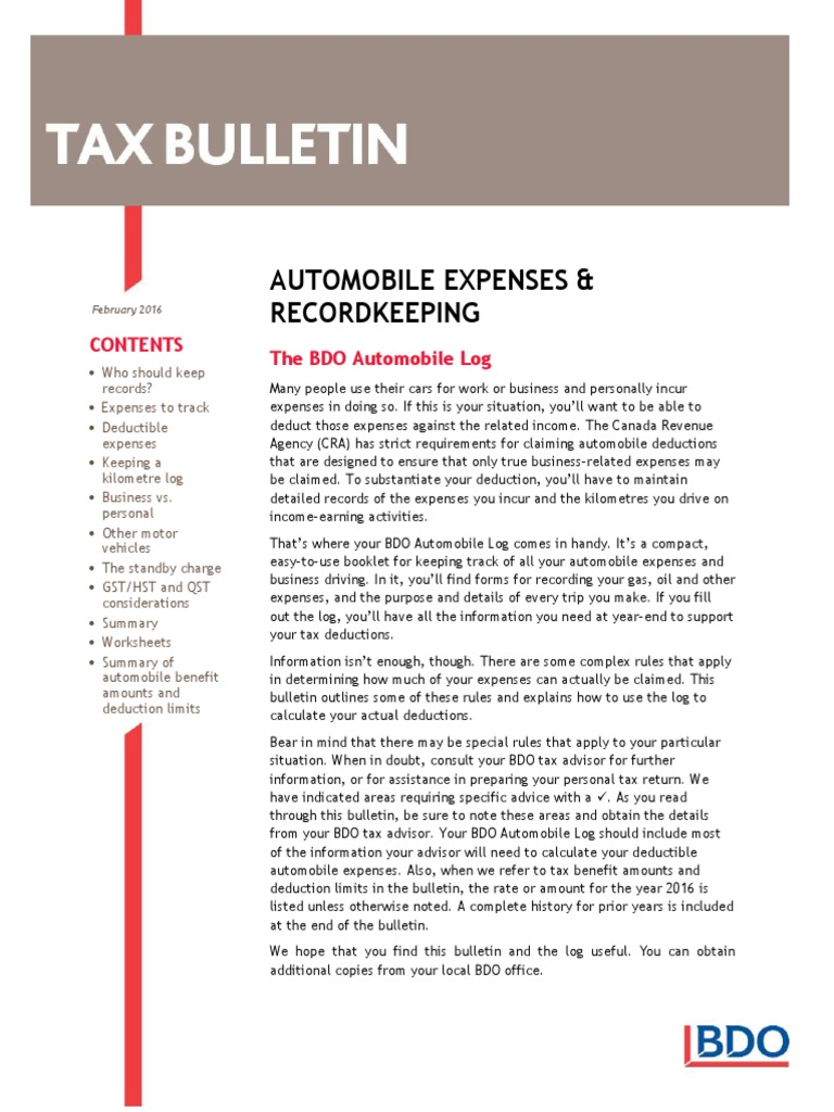 automobile expenses and recordkeeping expense value added tax
