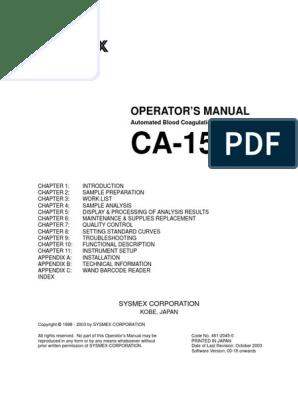CA-1500 Operators Manual | Data Analysis | Barcode