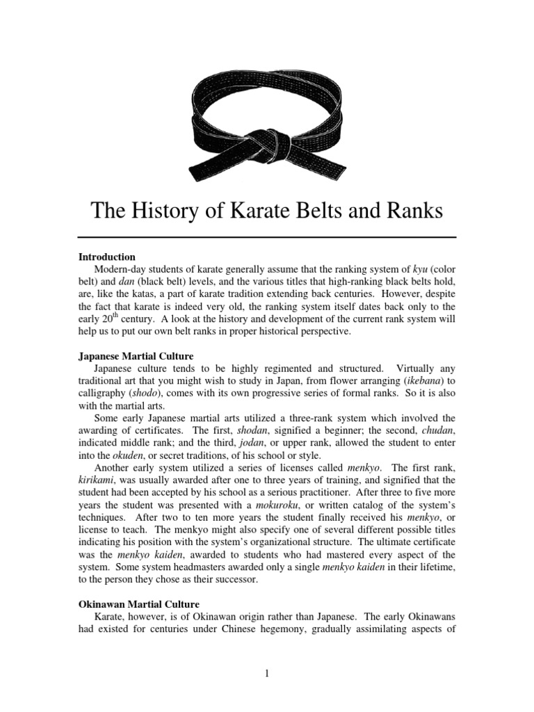 history of belts and ranks pdf karate shotokan