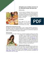 Alimentos Que Se Deben Consumir en Las Diferentes Etapas Del Desarrollo