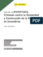 Corte Interamericana Crímenes Contra la Humanidad y Construcción de la Paz en Suramérica