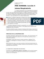 4ta Lección, Sistema Respiratorio