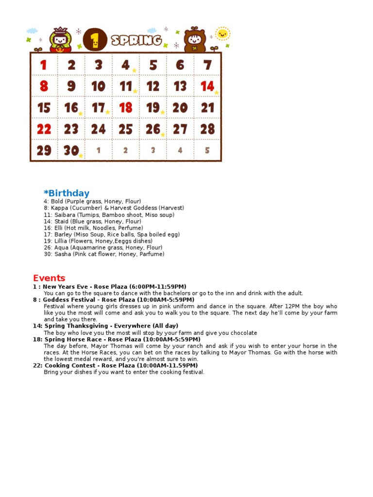 harvest moon calendar PSP docx | Cuisine | Food And Drink
