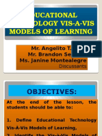 Educational Technology Vis-A-Vis Models of Learning
