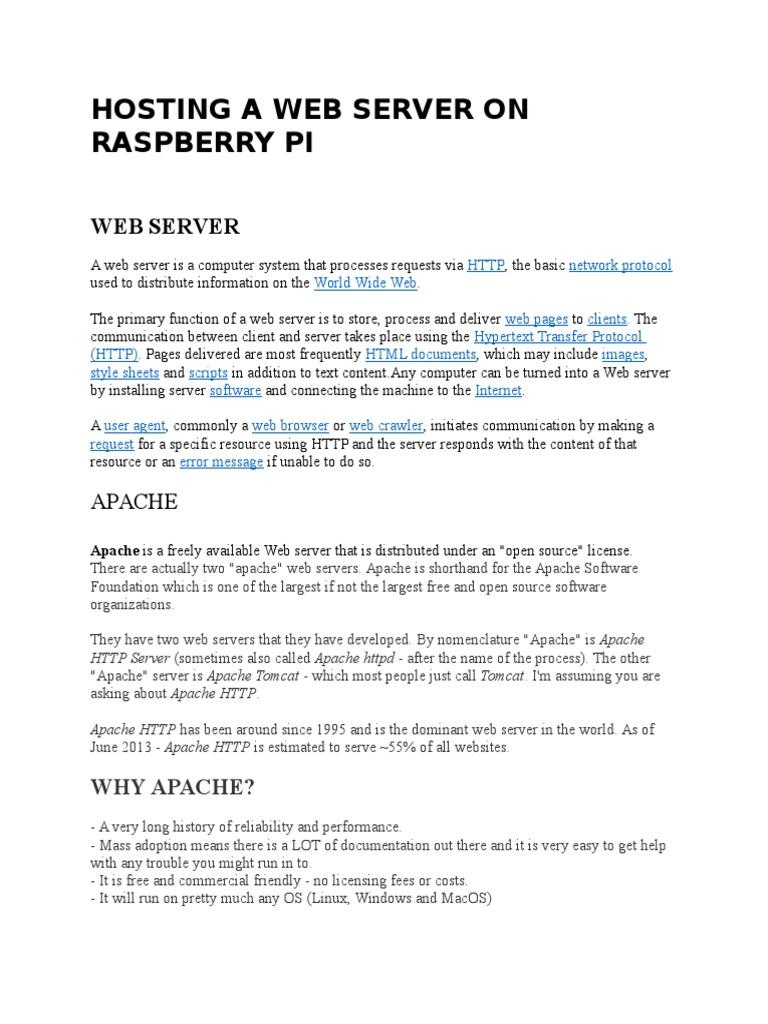 Hosting a Web Server on Raspberry Pi   Web Server   Apache