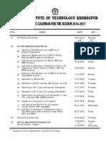 IIT Kgp Academic Calender 2016-17