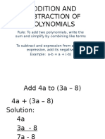 Addition and Subtraction of Polynomials & Law of Exponents