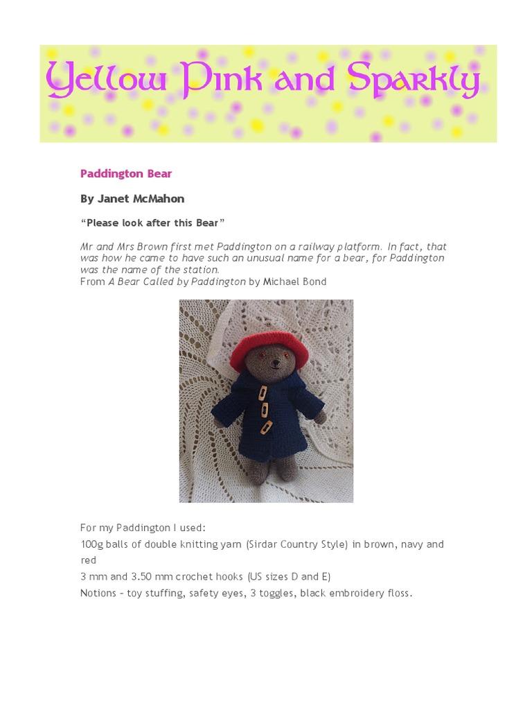 Paddington Bear Pattern | Textile Arts | Needlework