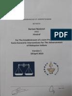 Memorandum Of Understanding between HINDRAF and Barisan Nasional (BN)