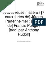 PONGE_ A La Rêveuse Matière